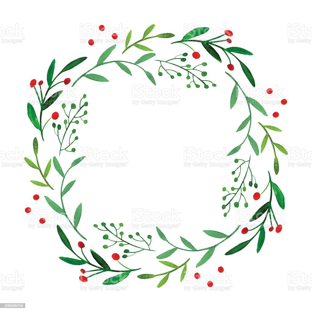 Watercolor wreath vector art illustration