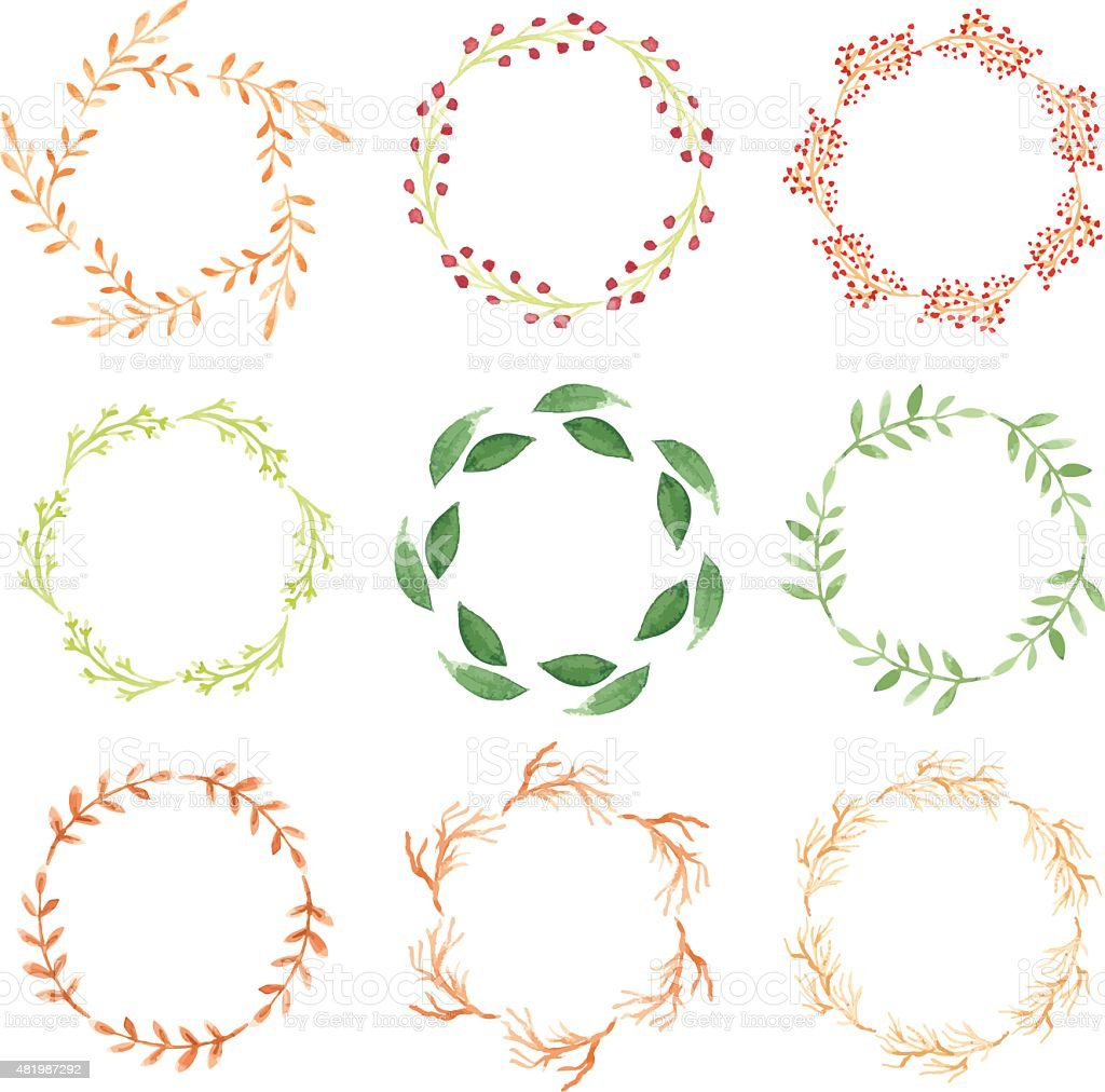 Watercolor wreaths vector art illustration