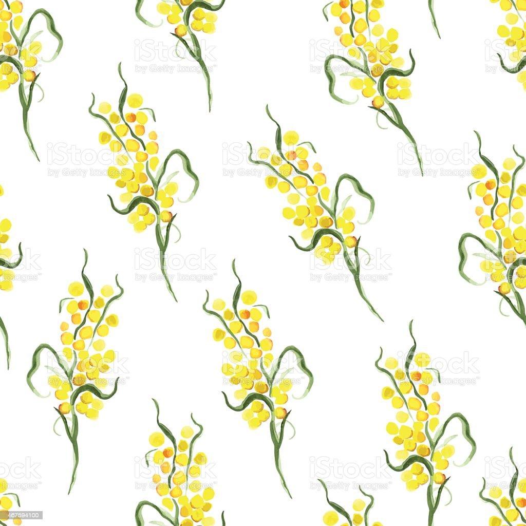 Watercolor yellow mimosa seamless vector print vector art illustration