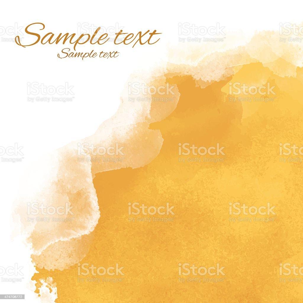 Watercolor yellow sand rough corner vector art illustration