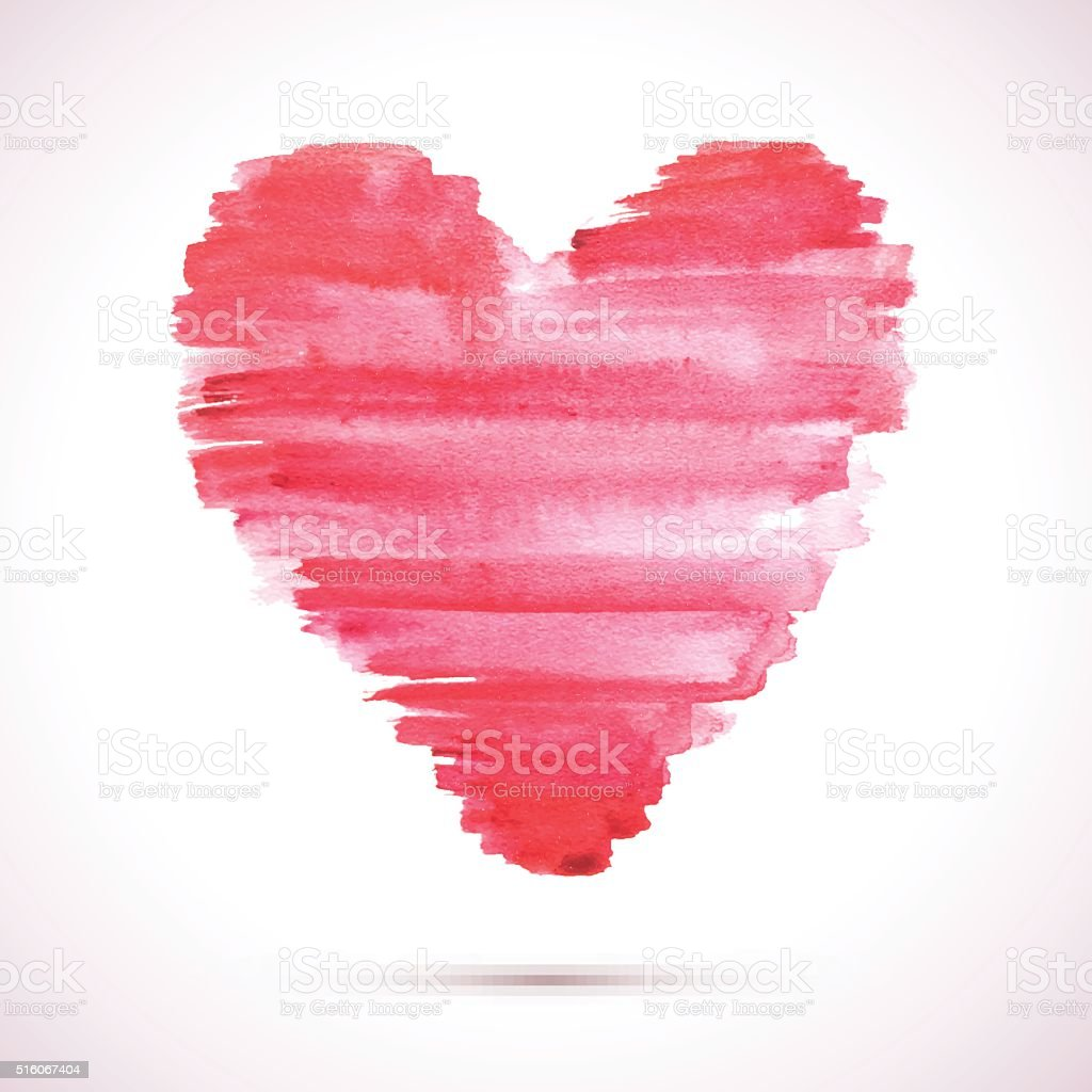 Watercolor-heart-brush-pink vector art illustration
