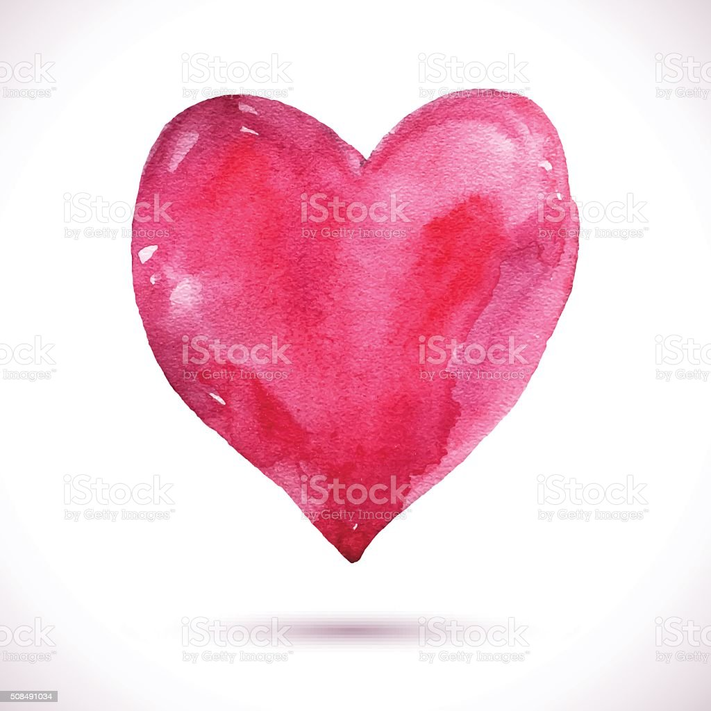 Watercolor-heart-pink vector art illustration