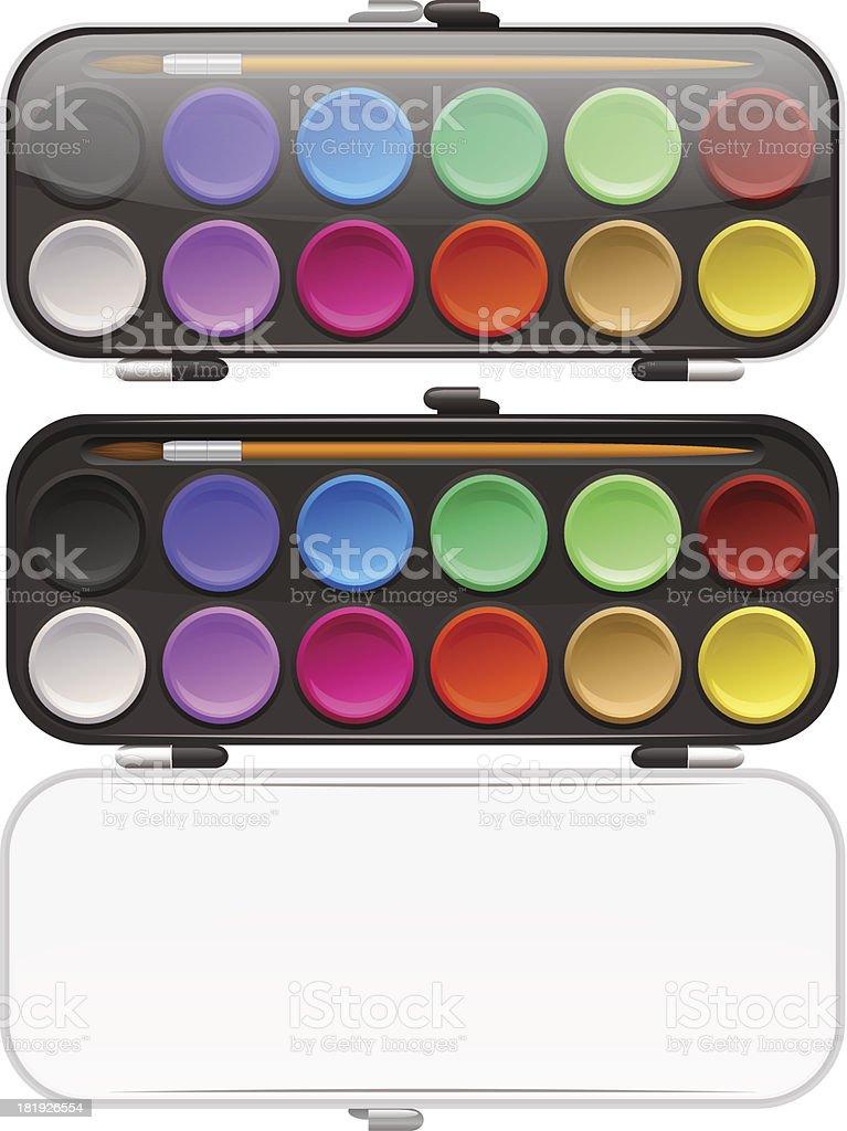 Watercolors and paintbrush on white background royalty-free stock vector art