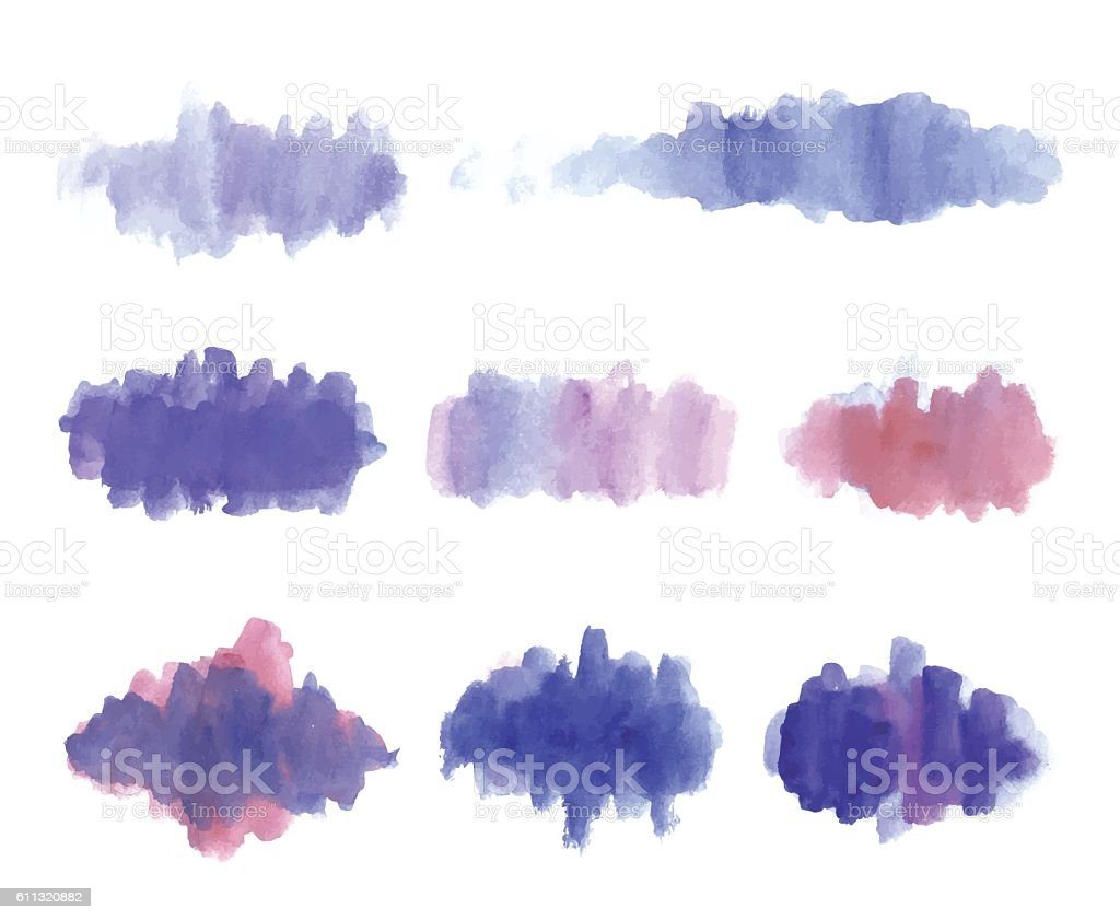 Watercolour Brush Stroke Set (Purple and Red) vector art illustration
