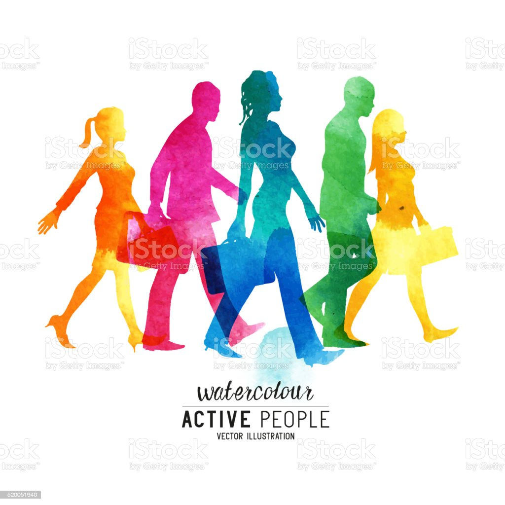 Watercolour Busy Walking People vector art illustration