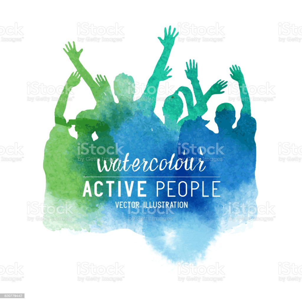 Watercolour Cheering Crowd of People vector art illustration