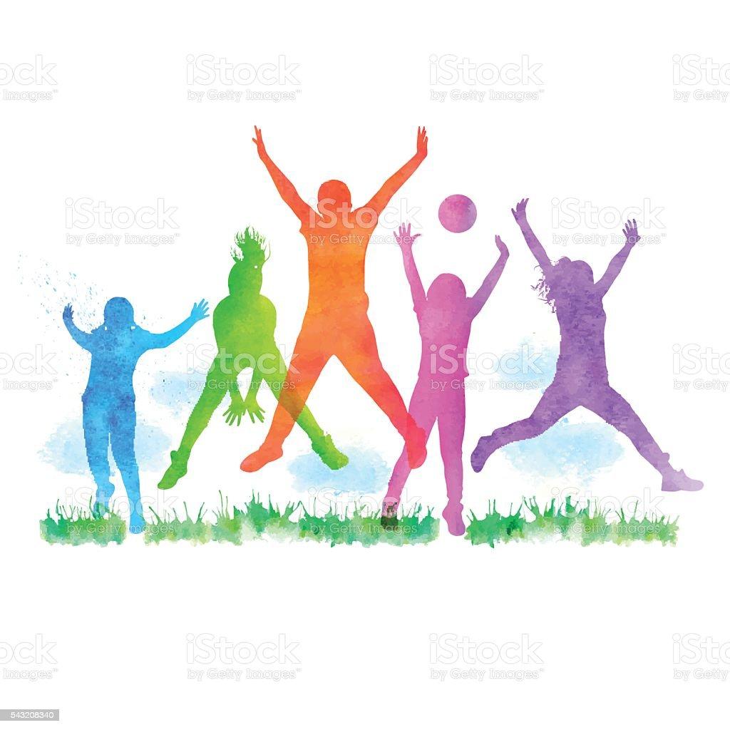 Watercolour Happy Children Jumping vector art illustration