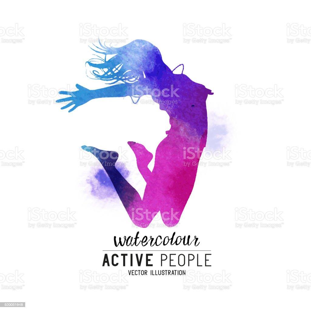 Watercolour Jumping Women Vector vector art illustration