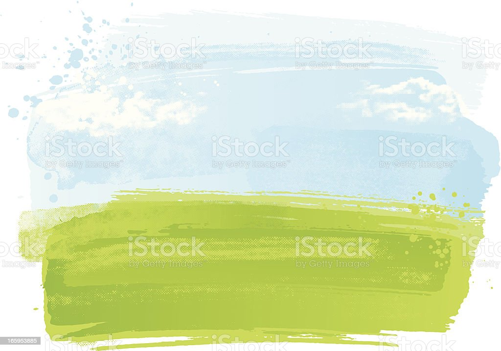 Watercolour landscape vector art illustration
