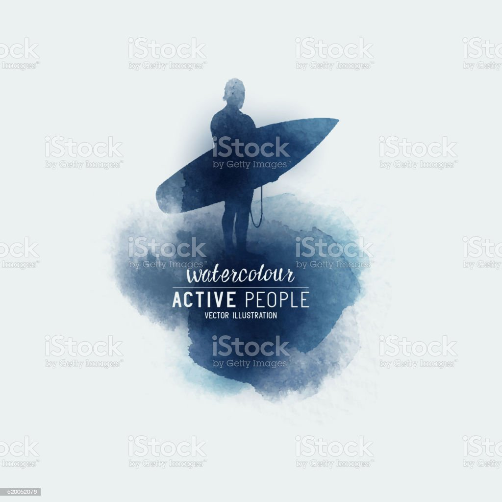 Watercolour Surfing Abstract vector art illustration