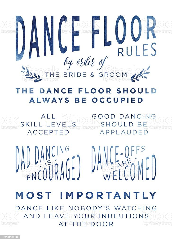 Watercolour Wedding Dancefloor Rules Sign vector art illustration