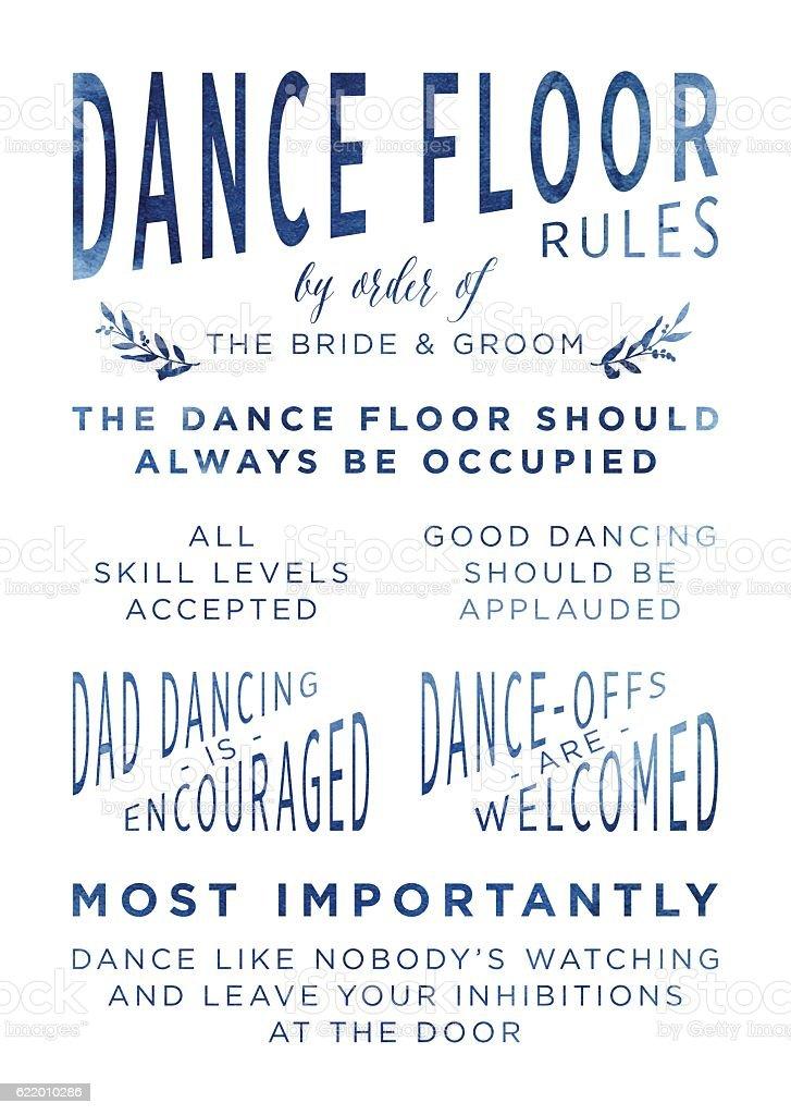 Watercolour Wedding Dancefloor Rules Sign vector art illustration