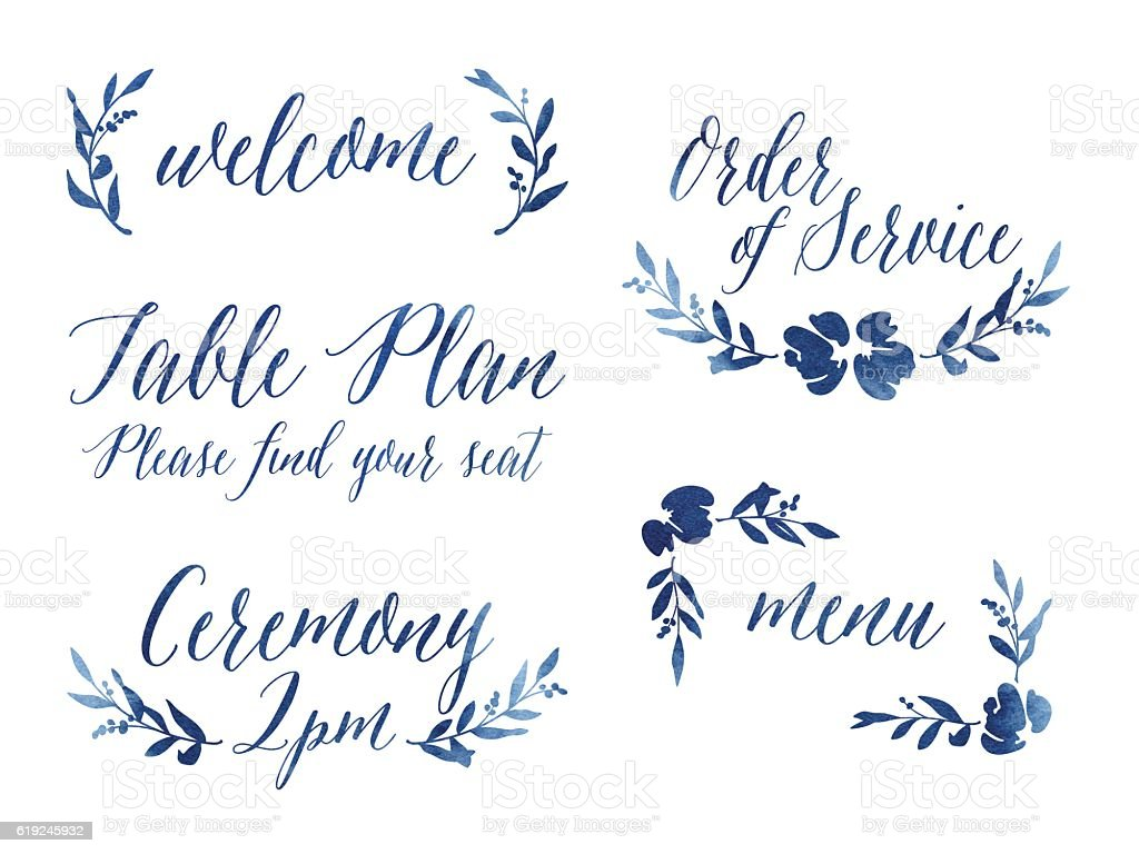 Watercolour Wedding Design Elements vector art illustration
