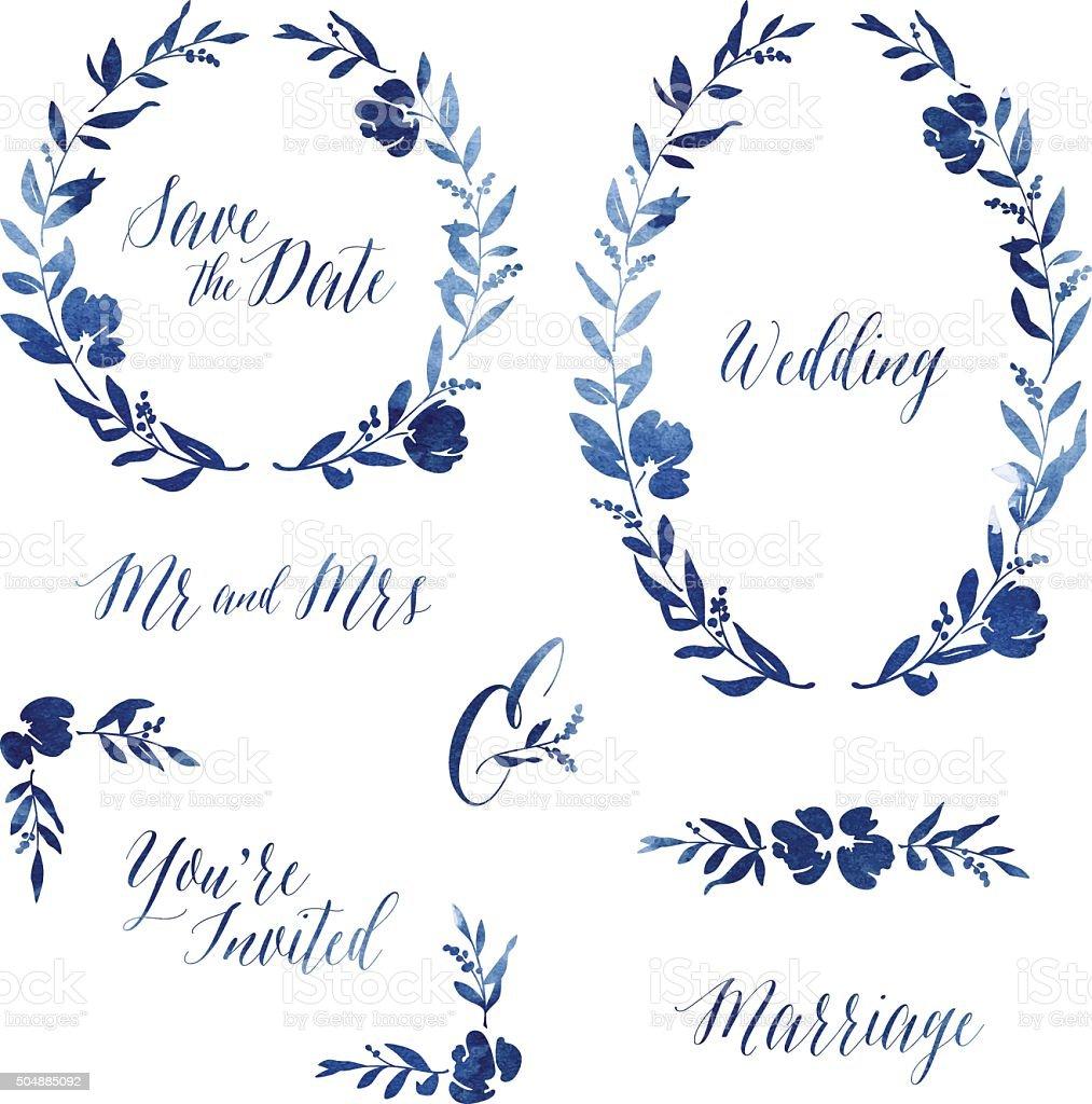Watercolour Wedding Invitation Design Elements vector art illustration