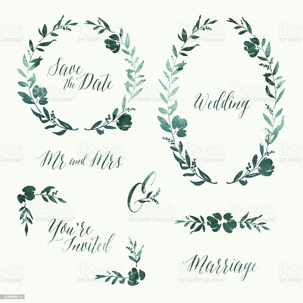 Watercolour Wedding Invitation Design Elements vector art illustration