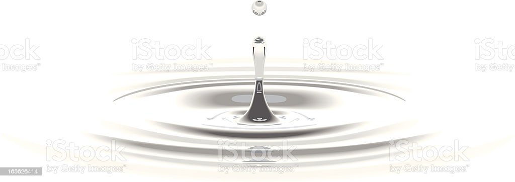 Waterdrop on white vector art illustration