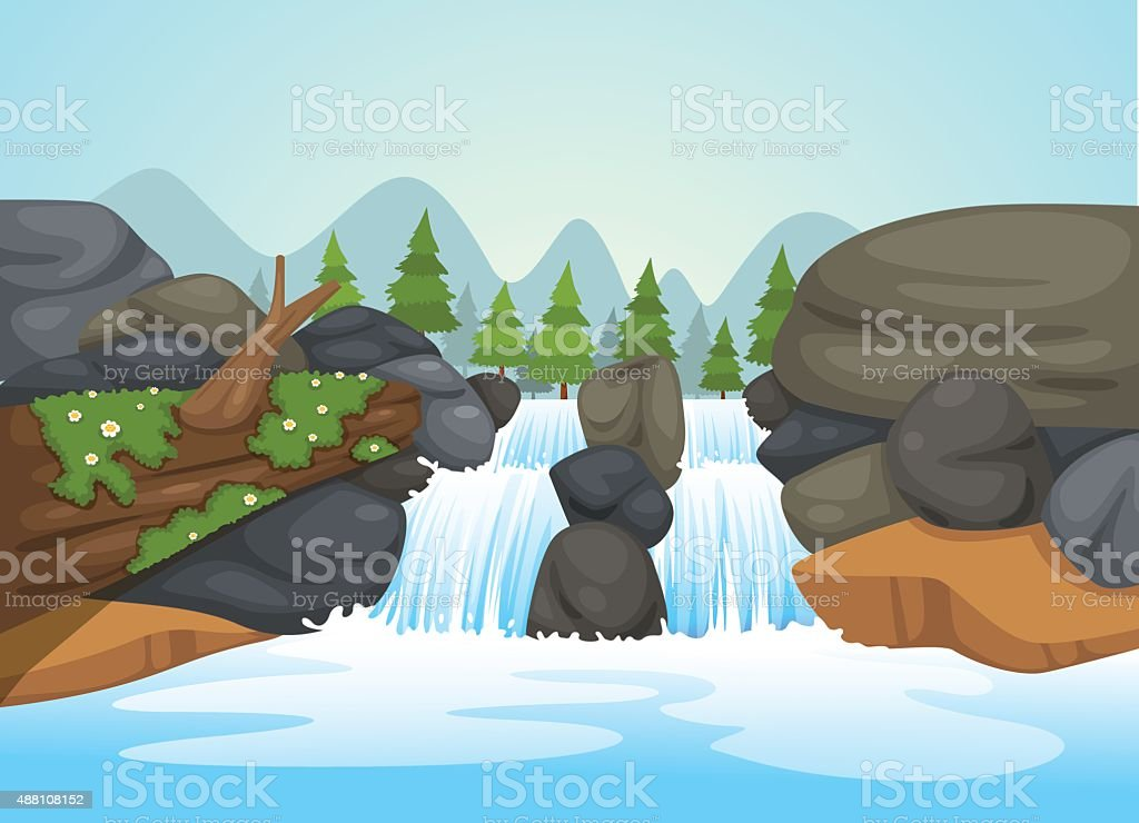 waterfall landscape vector vector art illustration