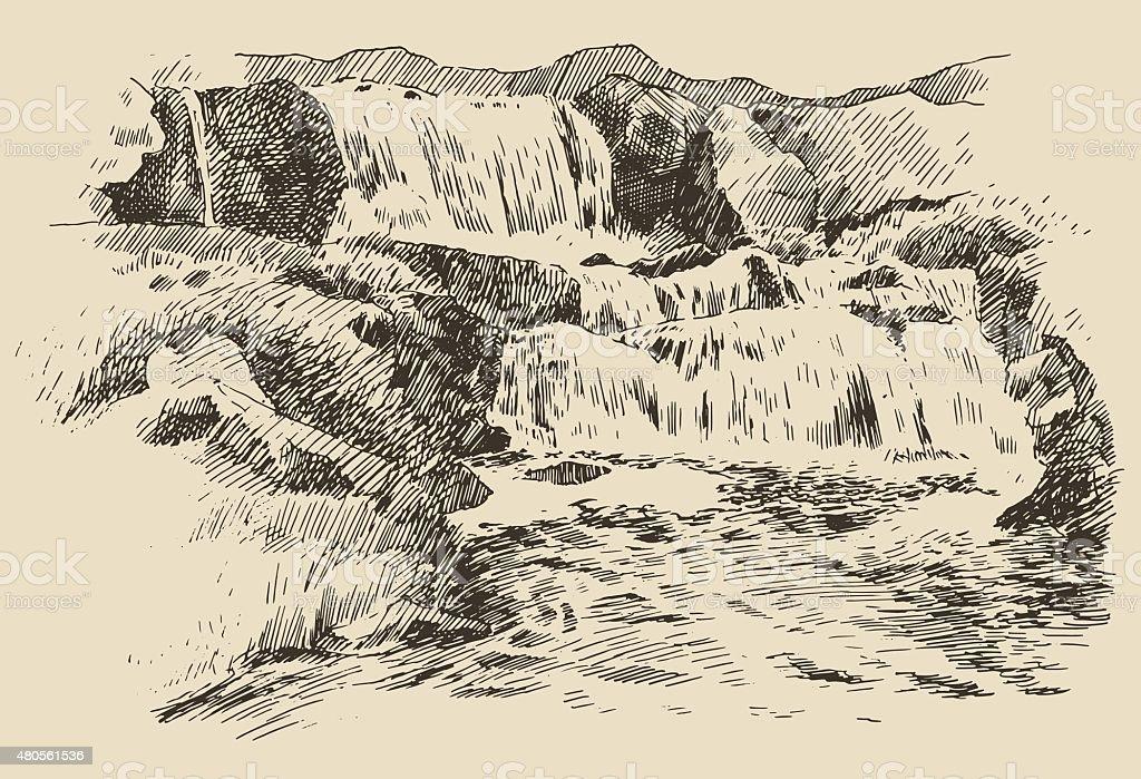 Waterfall landscape vintage engraving illustration vector art illustration