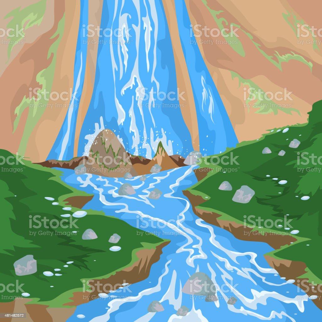 Waterfall scene vector art illustration
