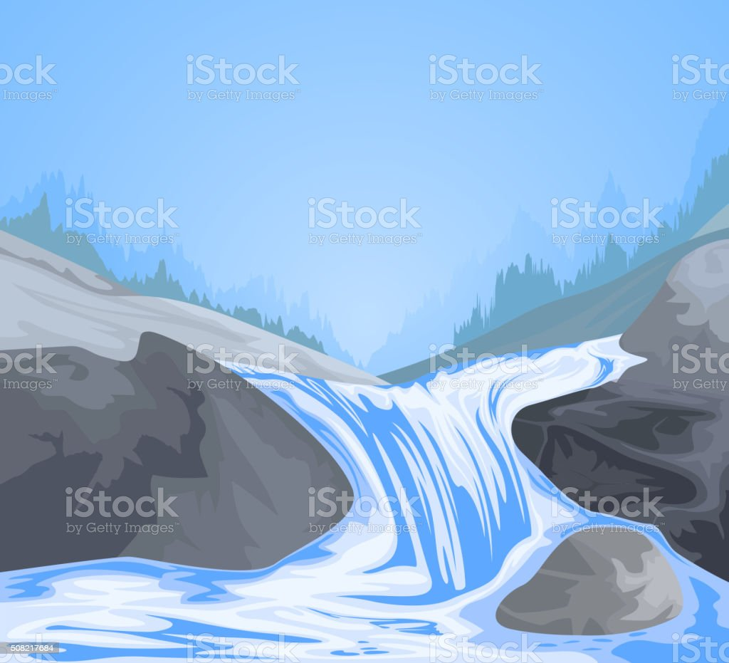 Waterfall scene vector art illustration