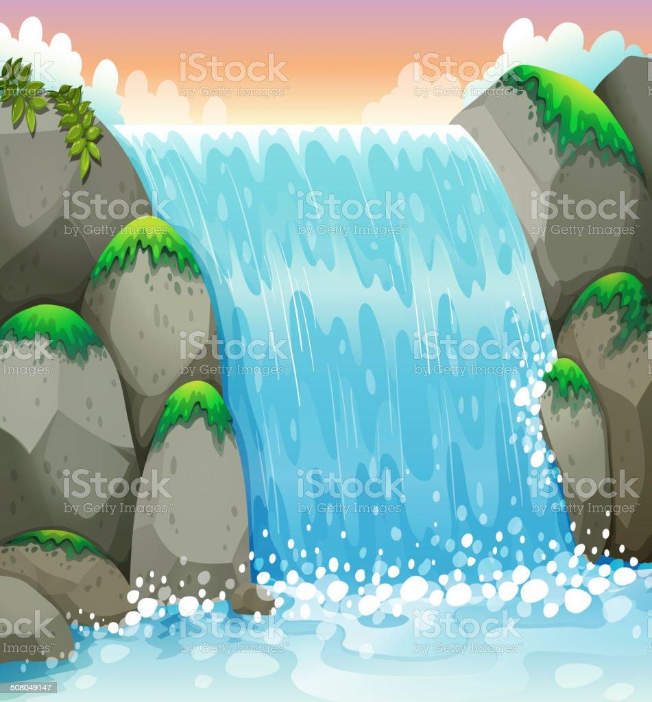 waterfall vector art illustration