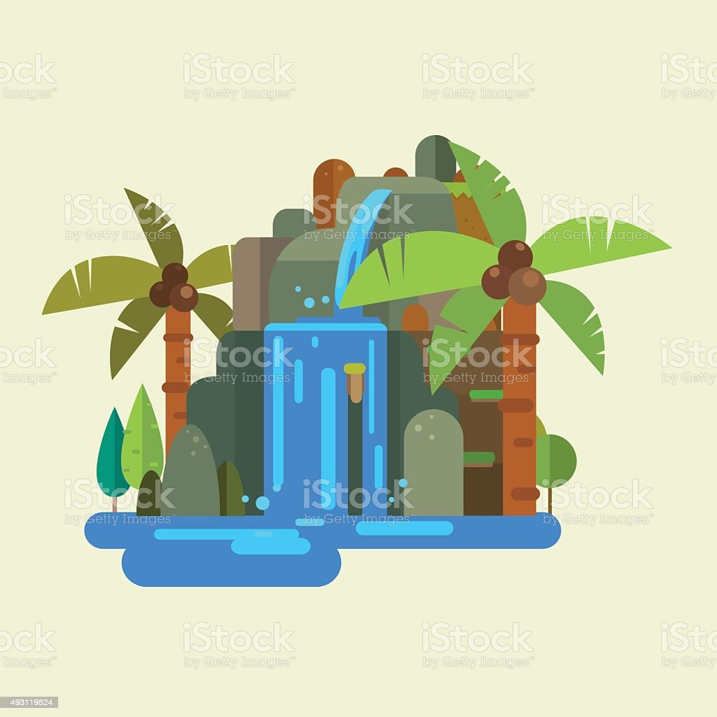 waterfall vector vector art illustration
