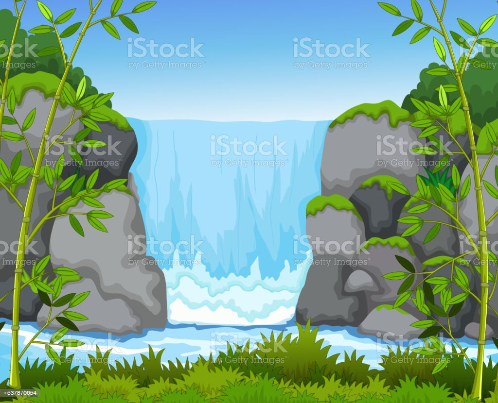 waterfall with landscape view background vector art illustration