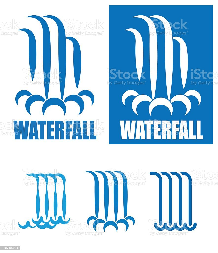 waterfalls logo set vector art illustration
