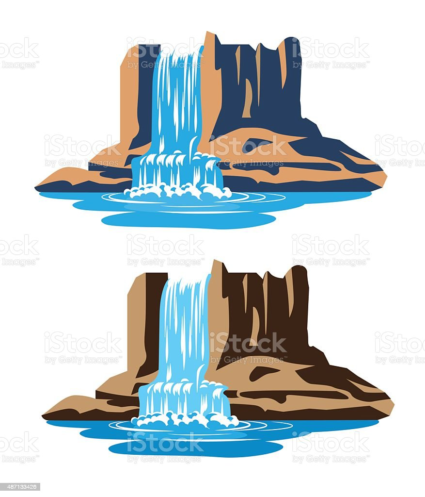 Waterfalls vector art illustration