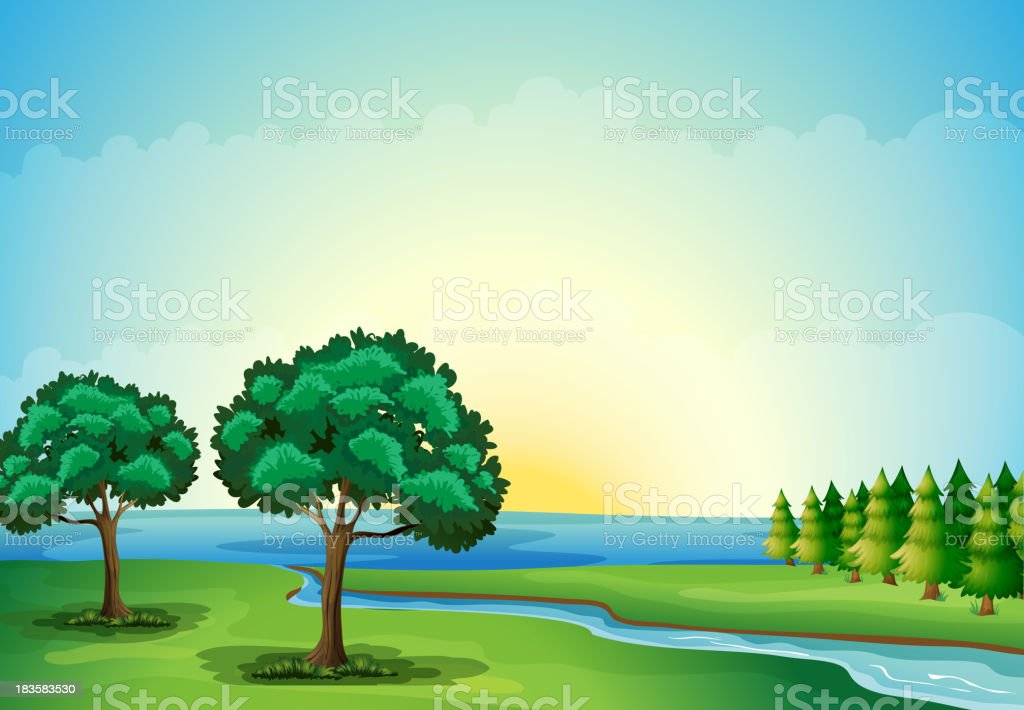 waterform in the forest vector art illustration