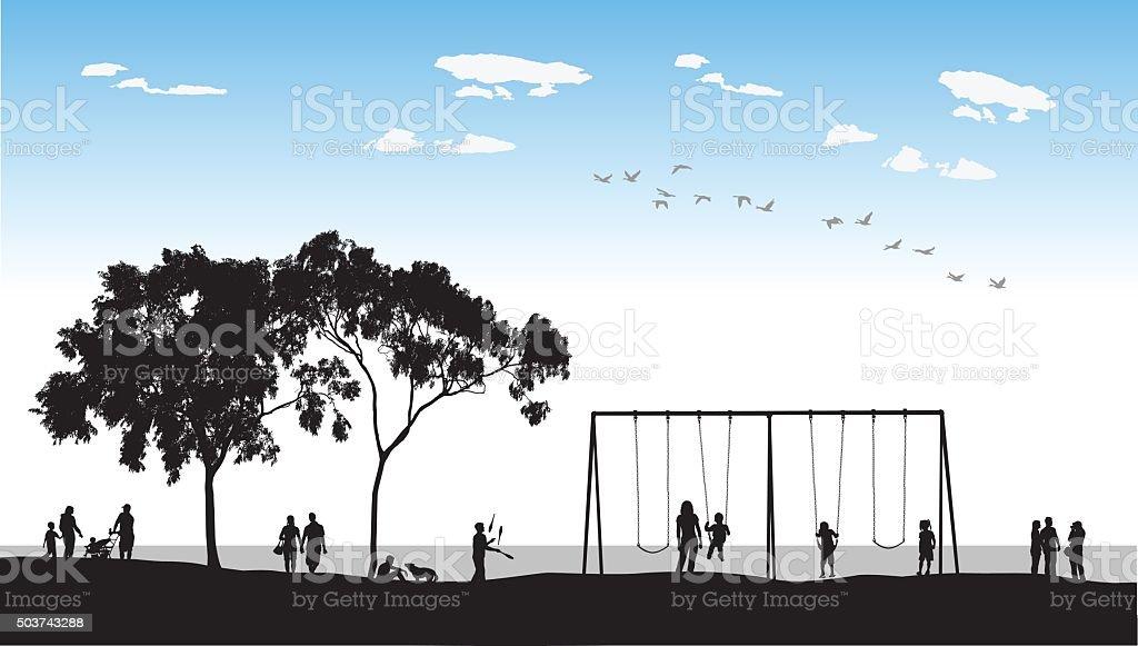 Waterfront Swings vector art illustration