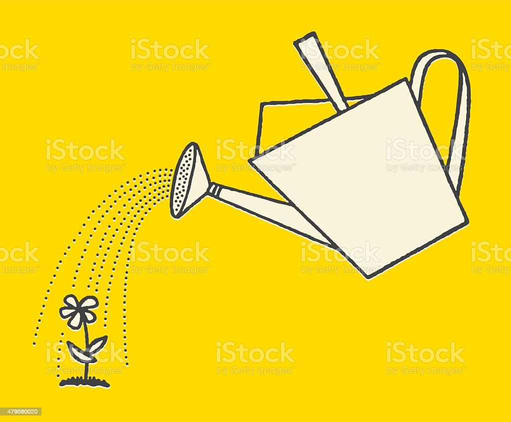 Watering Can and Flower vector art illustration