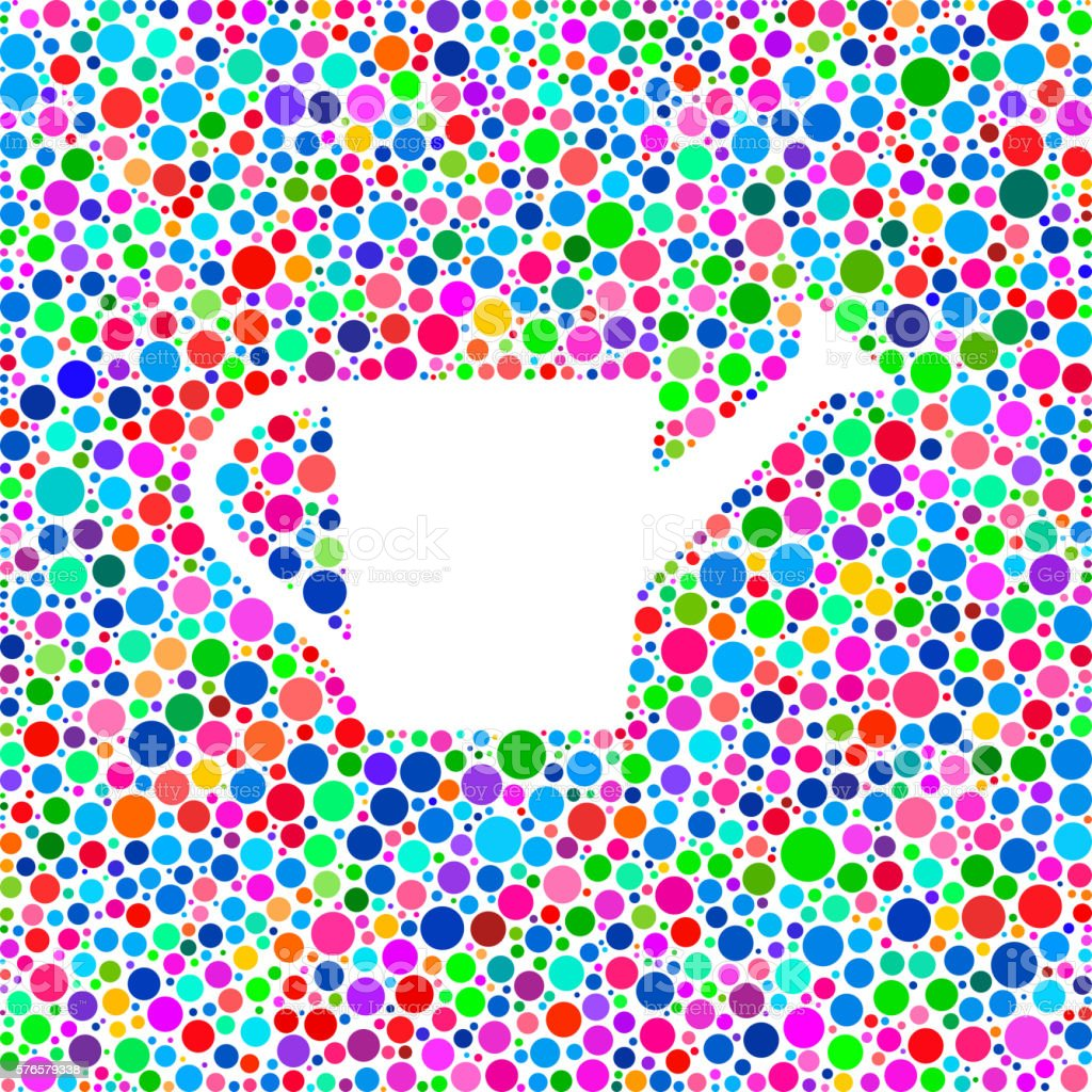 Watering Can Icon on Color Circle Background Pattern vector art illustration
