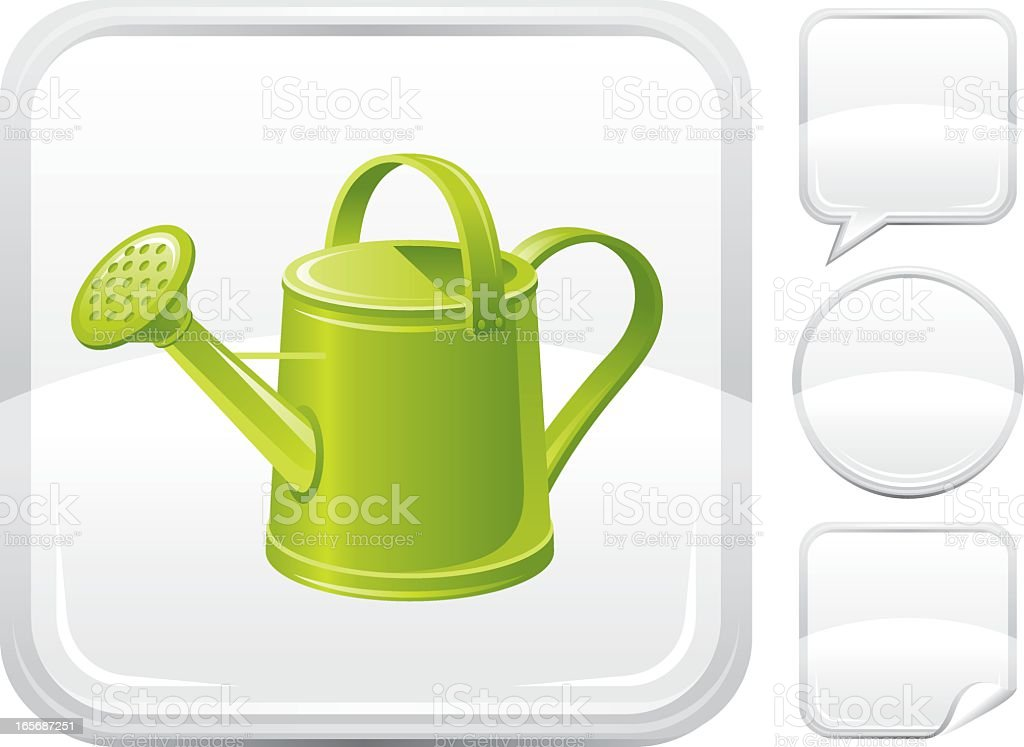Watering can icon on silver button royalty-free stock vector art