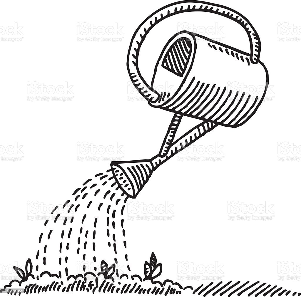 Watering Can Seed Drawing vector art illustration