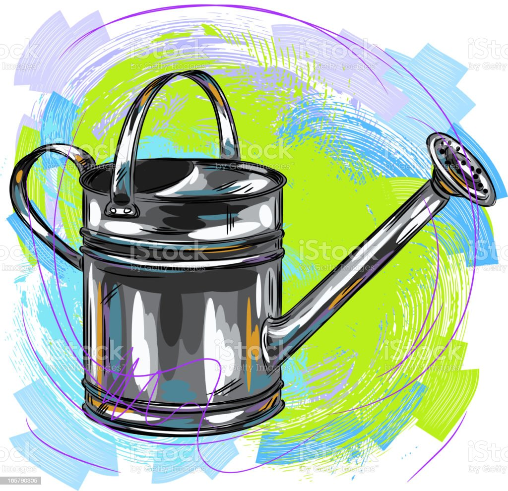 Watering can vector art illustration