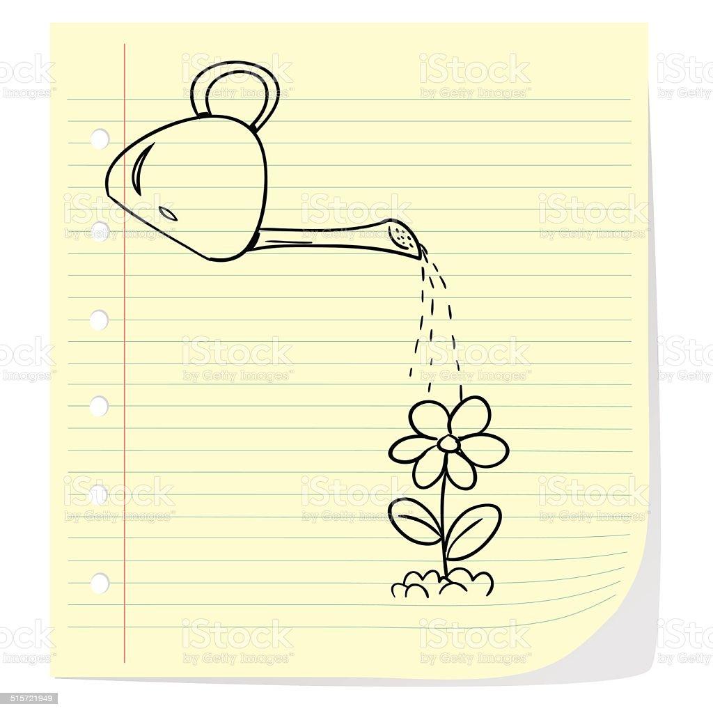 Watering Flower vector art illustration