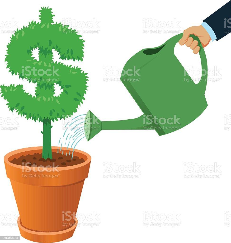 Watering Planted Dollar Sign vector art illustration