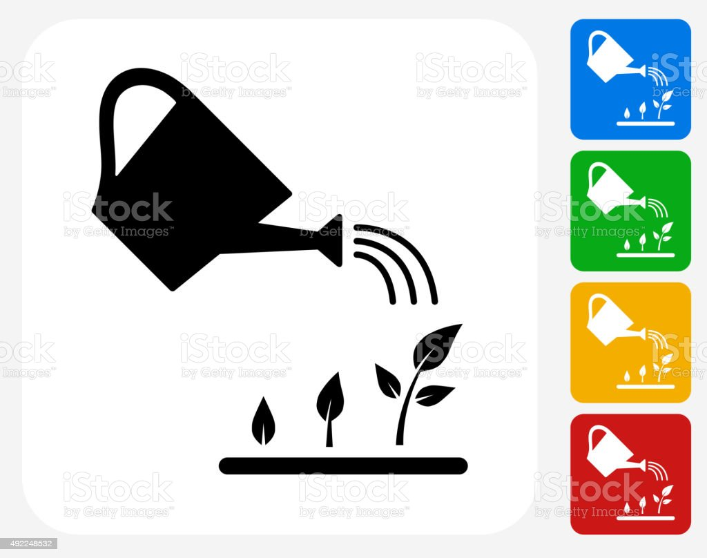 Watering Plants Icon Flat Graphic Design vector art illustration