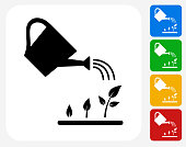 Watering Plants Icon Flat Graphic Design