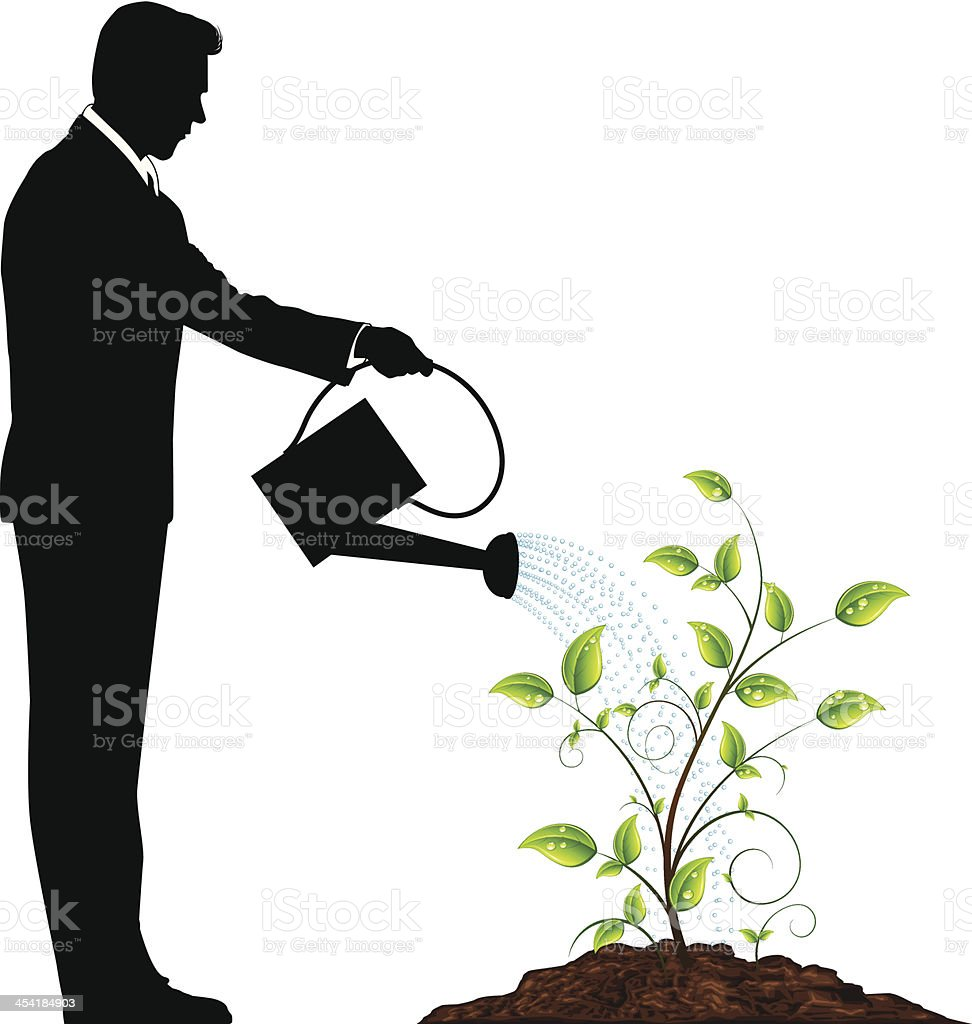 Watering the Plant vector art illustration