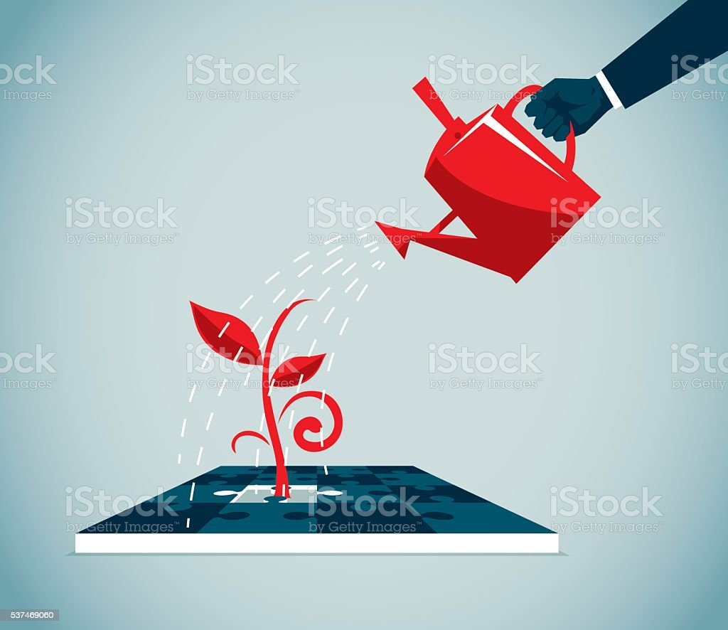 Watering vector art illustration