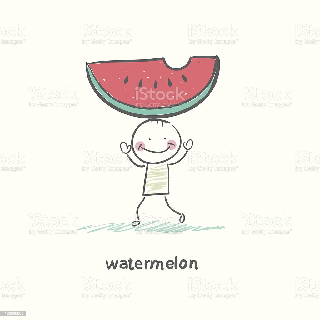 Watermelon and people royalty-free stock vector art
