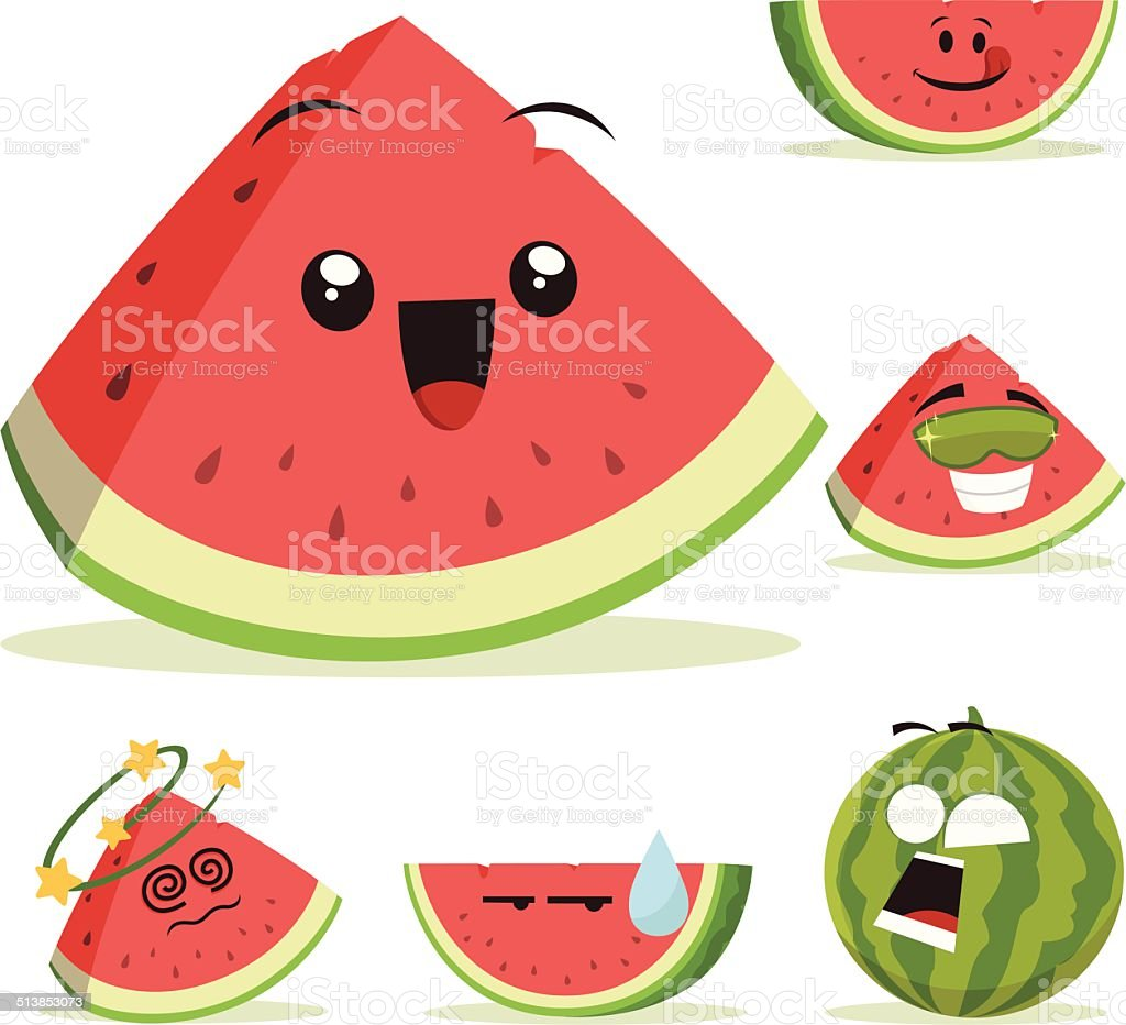 Watermelon Cartoon Set A vector art illustration