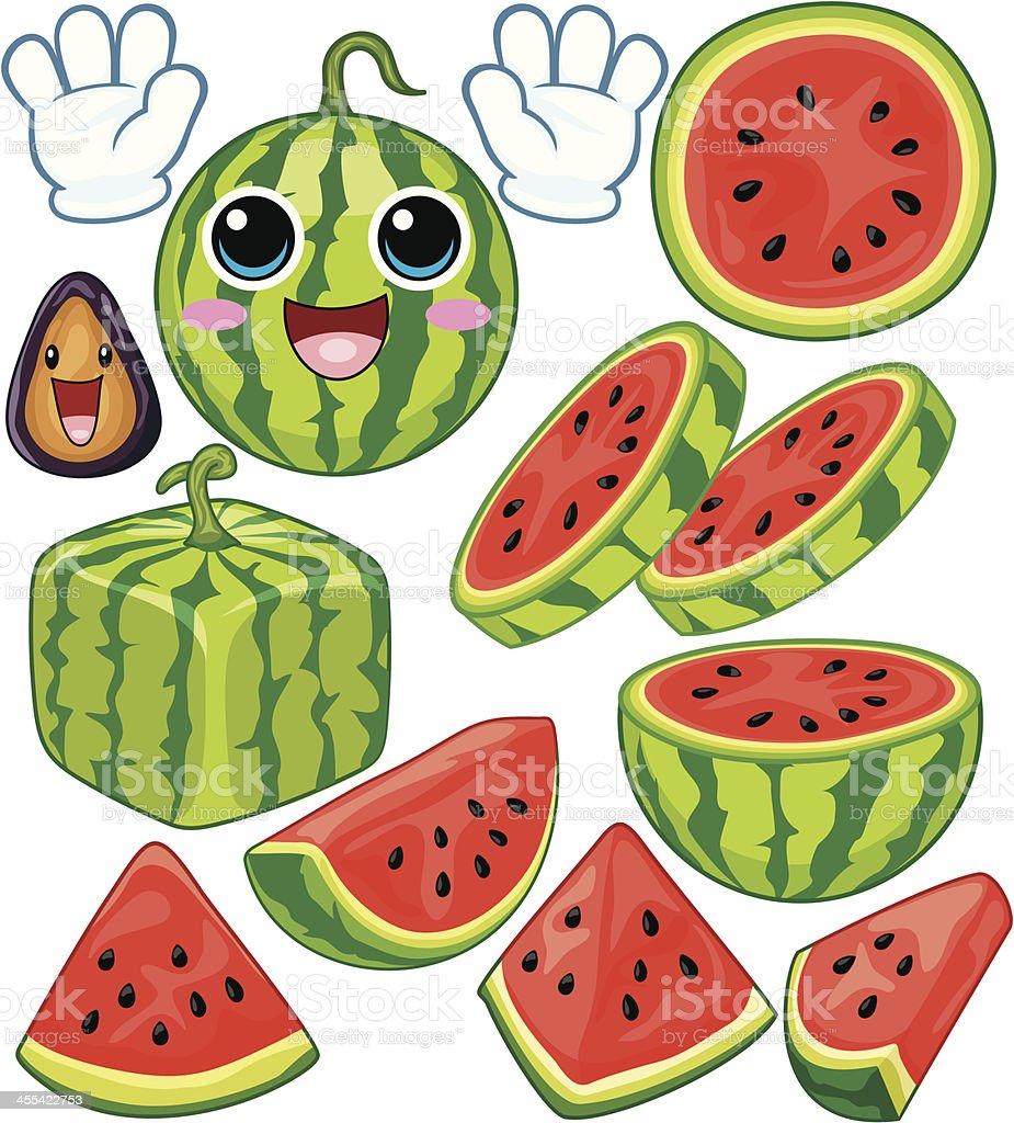 Watermelon cartoon royalty-free stock vector art