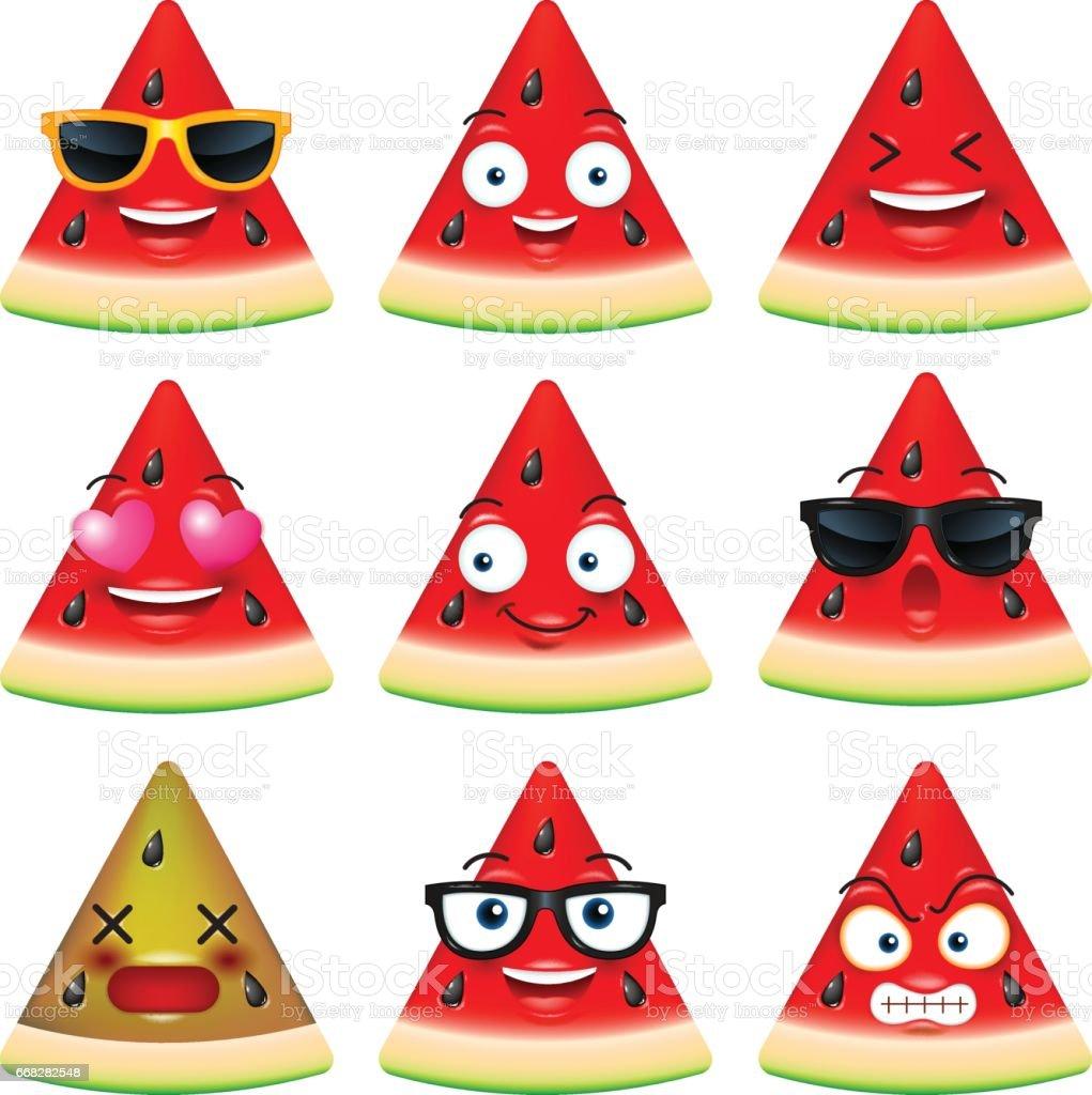 watermelon face, emojis,emotion,happy,summer,vector illustration vector art illustration