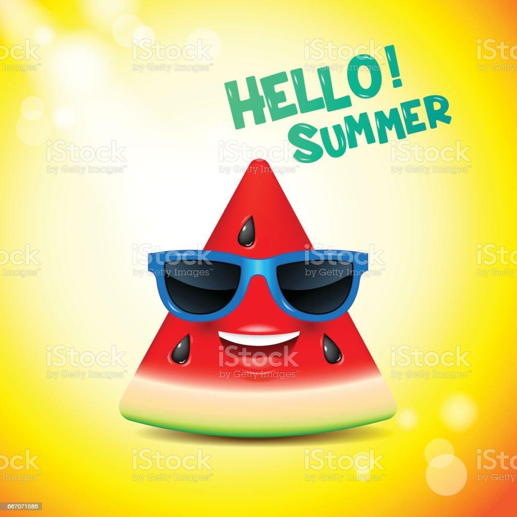 watermelon face, emojis,happy,summer,vector illustration vector art illustration