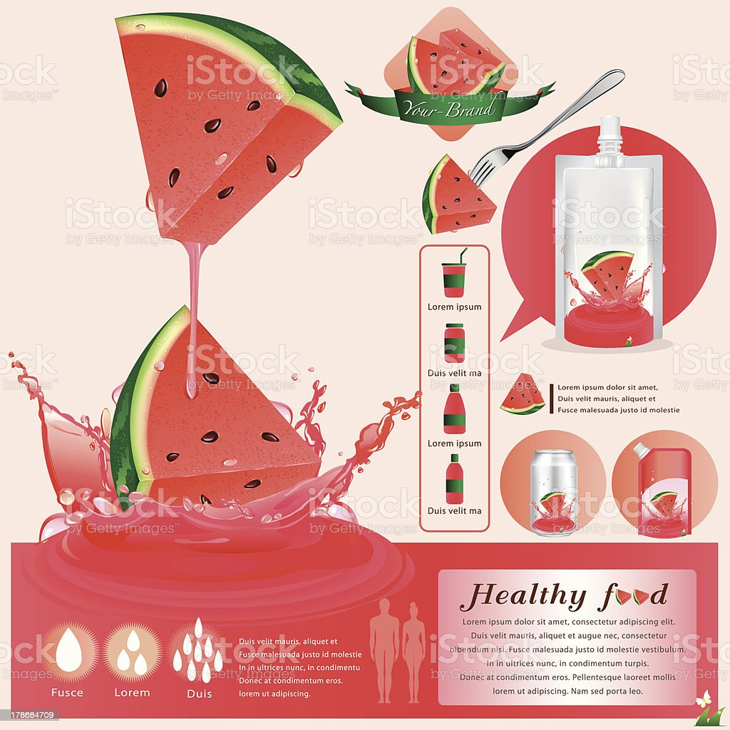 Watermelon juice infographics vector illustration royalty-free stock vector art
