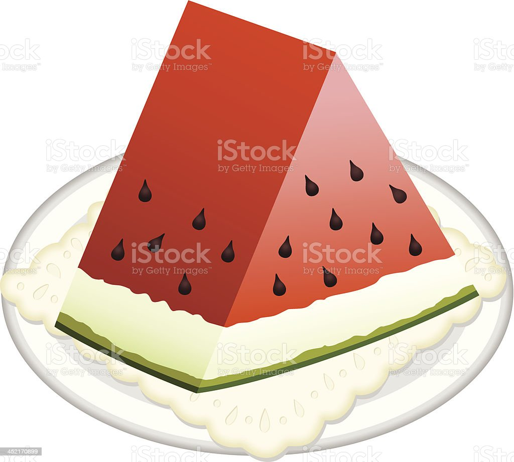 Watermelon slice on dish royalty-free stock vector art