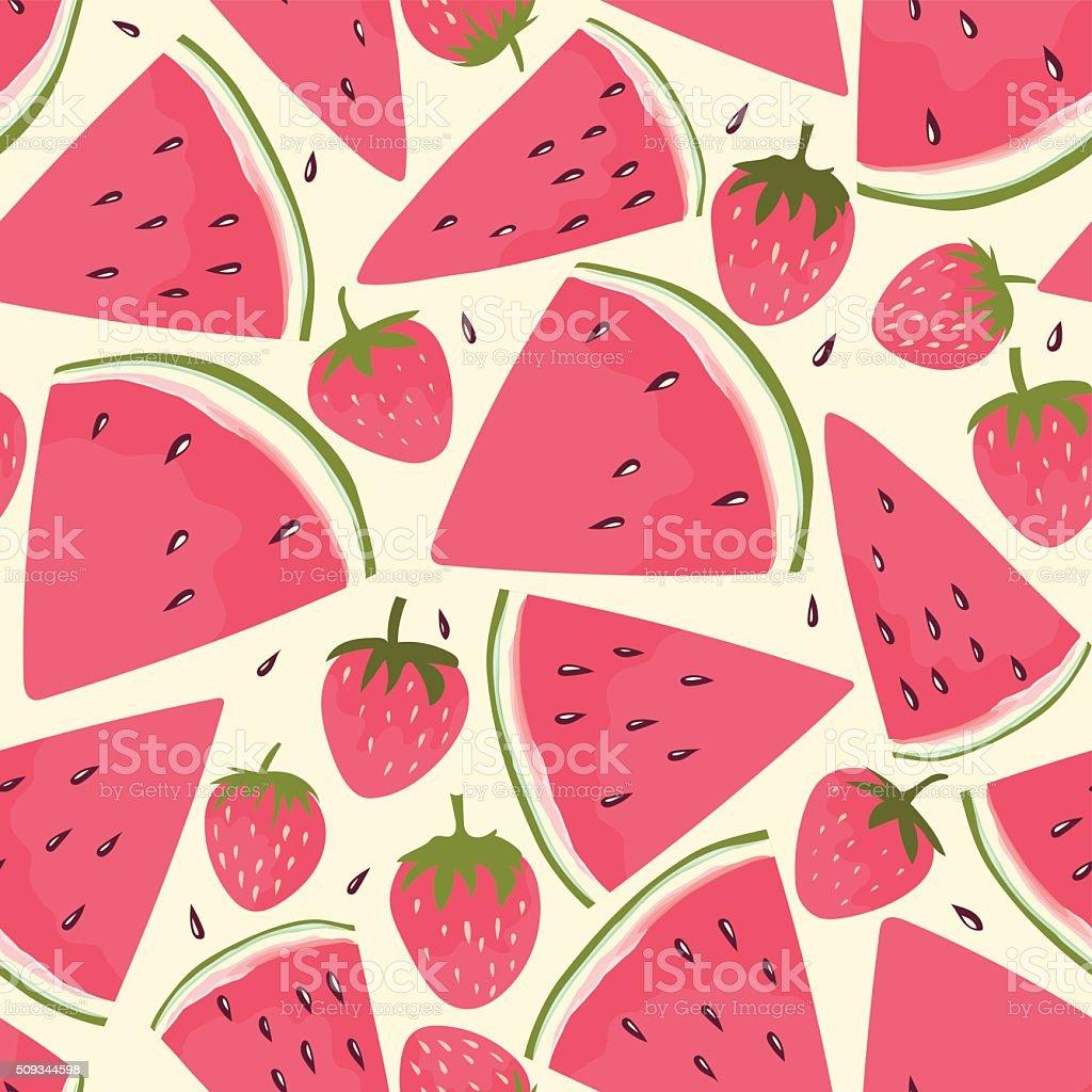 Watermelon slices seamless pattern vector art illustration